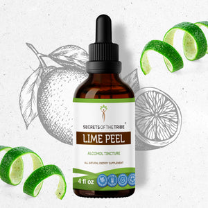 Lime Peel Tincture Extract, Organic (Citrus x aurantifolia) Dried Peel - secretsofthetribe