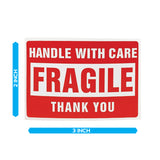 "Fragile Label 2"" x 3"" - Handle with Care - Shipping Sticker"