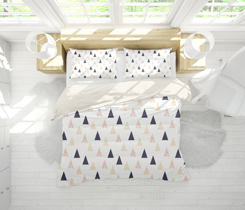 3D Creamy White Triangle Quilt Cover Set Bedding Set Pillowcases 89