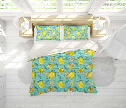 3D Blue Stripes Lemon Quilt Cover Set Bedding Set Pillowcases 122