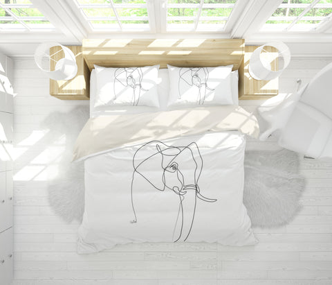 3D Elephant Simple Line Drawing Quilt Cover Set Bedding Set Pillowcases  37