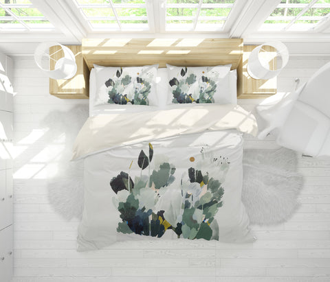 3D Green Plant Watercolor Quilt Cover Set Bedding Set Pillowcases  64