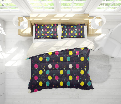 3D Black Table Tennis Ball Quilt Cover Set Bedding Set Pillowcases 105