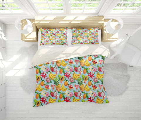 3D Blue Fruits Banana Pineapple Cantaloupe Floral Quilt Cover Set Bedding Set Pillowcases 75