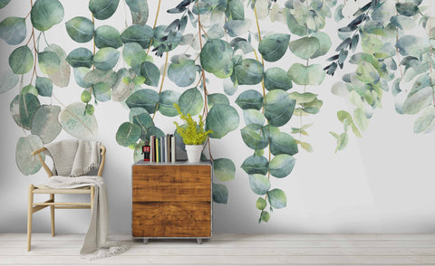 3D Watercolor Green Leaves Wall Mural Wallpaper 244