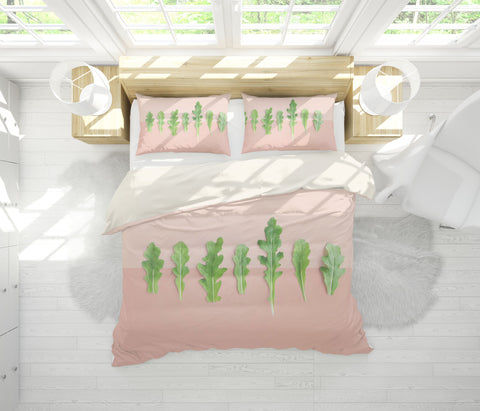 3D Green Plant Leaf Pattern Quilt Cover Set Bedding Set Pillowcases  56