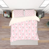 3D Pink Alpaca Cactus Quilt Cover Set Bedding Set Pillowcases 134