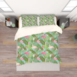 3D Green Tropical Leaves Flamingo Quilt Cover Set Bedding Set Pillowcases 118