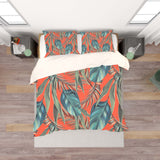 3D Orange Green Tropical Leaves Quilt Cover Set Bedding Set Pillowcases 71