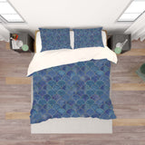 3D Blue Fish Scale Pattern Quilt Cover Set Bedding Set Pillowcases 189