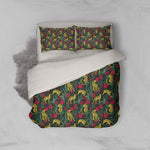 3D Leopard Floral Black Quilt Cover Set Bedding Set Pillowcases 217