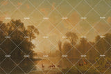 3D  Lakeside Dusk Oil Painting Wall Mural Wallpaper 27