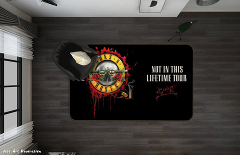 3D Guns N' Roses Rock Band Black Non-Slip Rug Mat 33