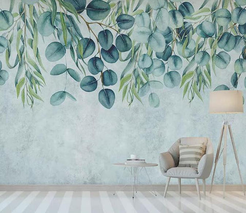 3D Watercolor Partysu Leaves Wall Mural Removable 165 - Jessartdecoration