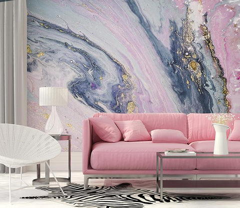 3D Pink Gilding Marbling  Wall Mural Removable Wallpaper 105 - Jessartdecoration
