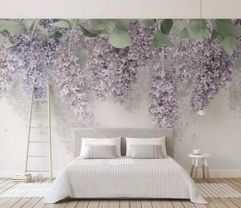 3D Retro Lavender Floral Wall Mural Removable 182 - Jessartdecoration