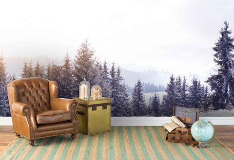 3D pine tree forest wall mural wallpaper 14
