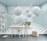 3D White Gallery Geometric Wall Mural Removable 185 - Jessartdecoration