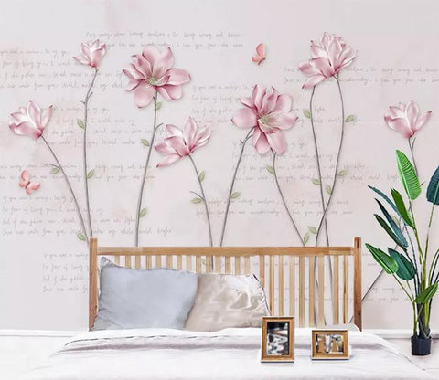 3D Pink Simple Floral Wall Mural Removable Wallpaper 105