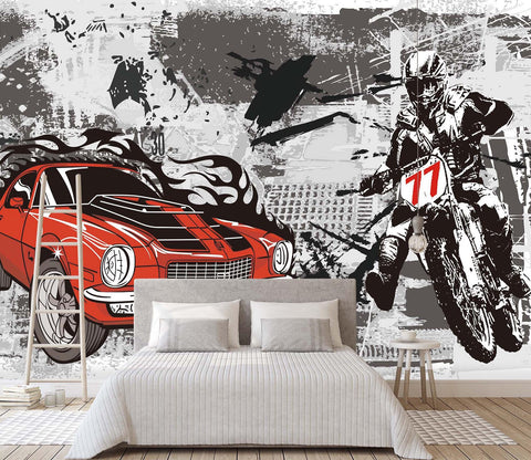 3D Hand Painted Motorcycle 062 Wall Murals