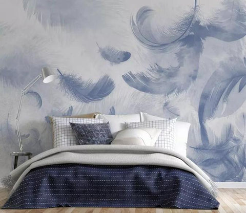 3D Watercolor Feather Blue Wall Mural Removable 122 - Jessartdecoration
