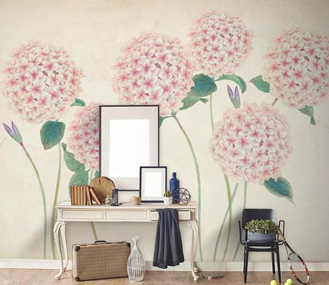 3D Retro Pink Hydrangea Wall Mural Removable 176