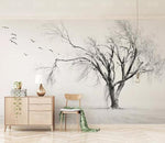 3D Sketch Life Tree Birds Wall Mural Removable 184 - Jessartdecoration