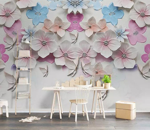 3D Ceramic Colorful Partysu Floral Wall Mural Removable 133
