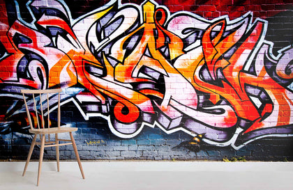 3D Colorful Graffiti Wall Mural Wallpaper 8