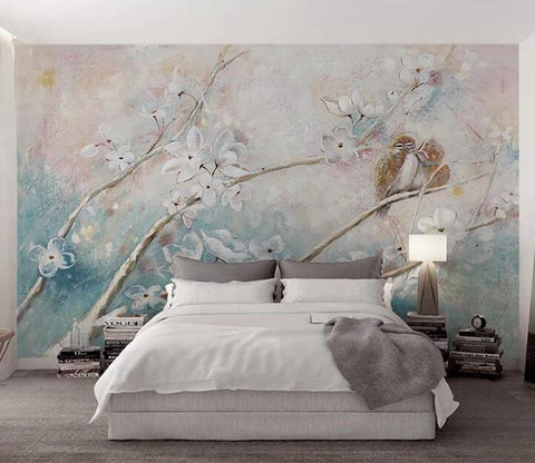 3D Oil Painting Birds Flowering Tree Wall Mural Removable 127 - Jessartdecoration