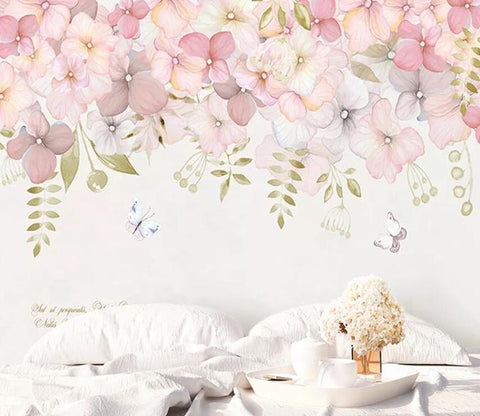 3D Watercolor Pink Warm Floral Wall Mural Removable Wallpaper 118 - Jessartdecoration