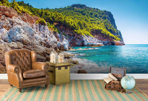 3D Blue Sky Sea Cliff Forest  Wall Mural Wallpaper 145
