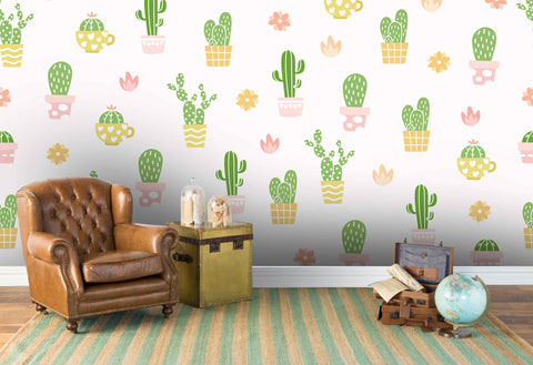 3D hand painting cactus floral wall mural wallpaper 35