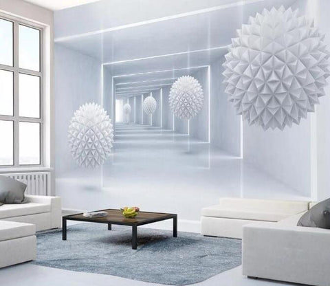 3D Modern White Geometric Gallery Wall Mural Removable 110 - Jessartdecoration