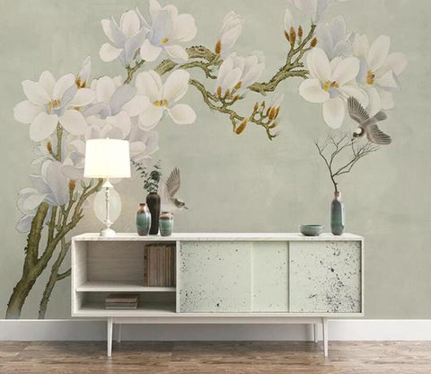 3D Retro Chinese Style Floral Birds Wall Mural Removable 135