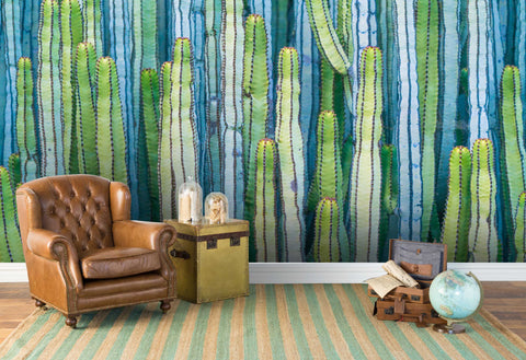 3D watercolor abstract cactus wall mural wallpaper 100