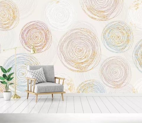 3D Colorful Sketch Circle Wall Mural Removable 183 - Jessartdecoration