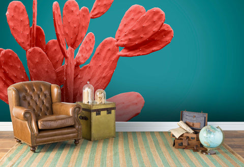 3D red cactus green background wall mural wallpaper 60