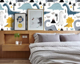 3D Cartoon Lovely Dinosaur Wall Mural Wallpaper 08 - Jessartdecoration
