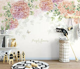 3D Partysu Hydrangea Floral Wall Mural Removable 181