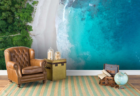 3D blue sea beach tree wall mural wallpaper 102
