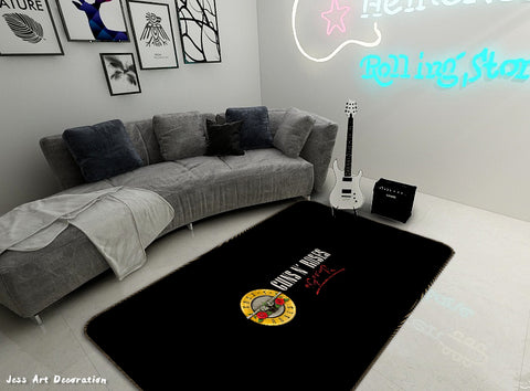 3D Guns N' Roses Rock Band Black Non-Slip Rug Mat 11