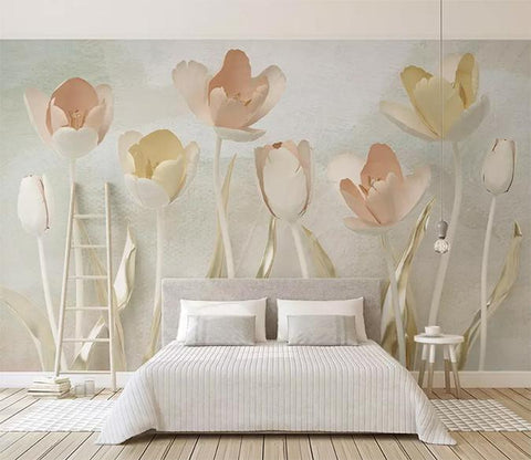 3D Warm Simple Ceramic Floral Wall Mural Removable 107 - Jessartdecoration