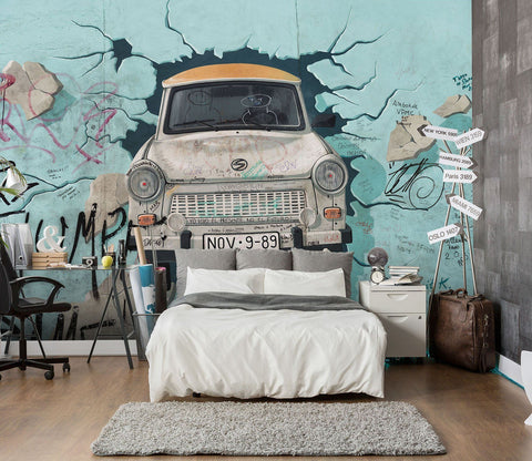 3D Cartoon Car 129 Wall Murals