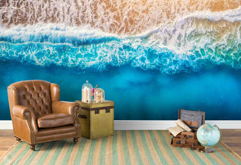 3D Deep Blue Sea Waves Wall Mural Wallpaper  147