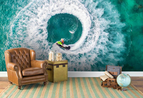 3D Blue Sea Spray Wall Mural Wallpaper 113