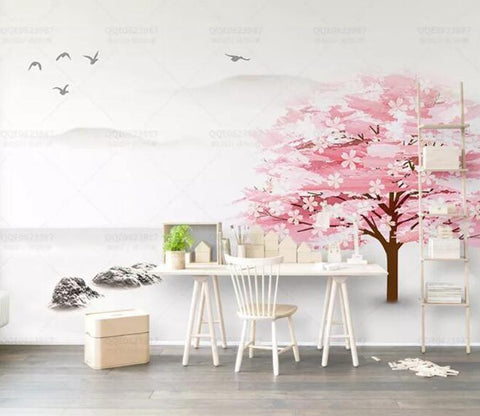3D Pink Trees Wash Painting Mountains Wall Mural Removable 102