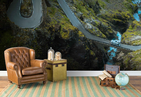 3D green mountain highway wall mural wallpaper 74