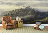 3D fog green forest mountain wall mural wallpaper 86