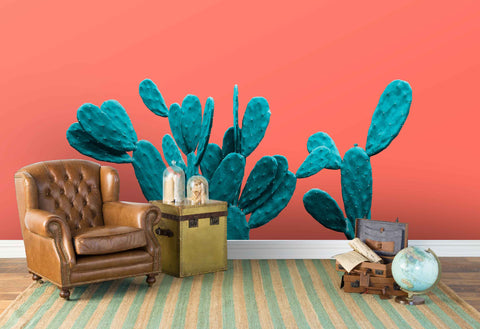 3D green cactus red background wall mural wallpaper 58